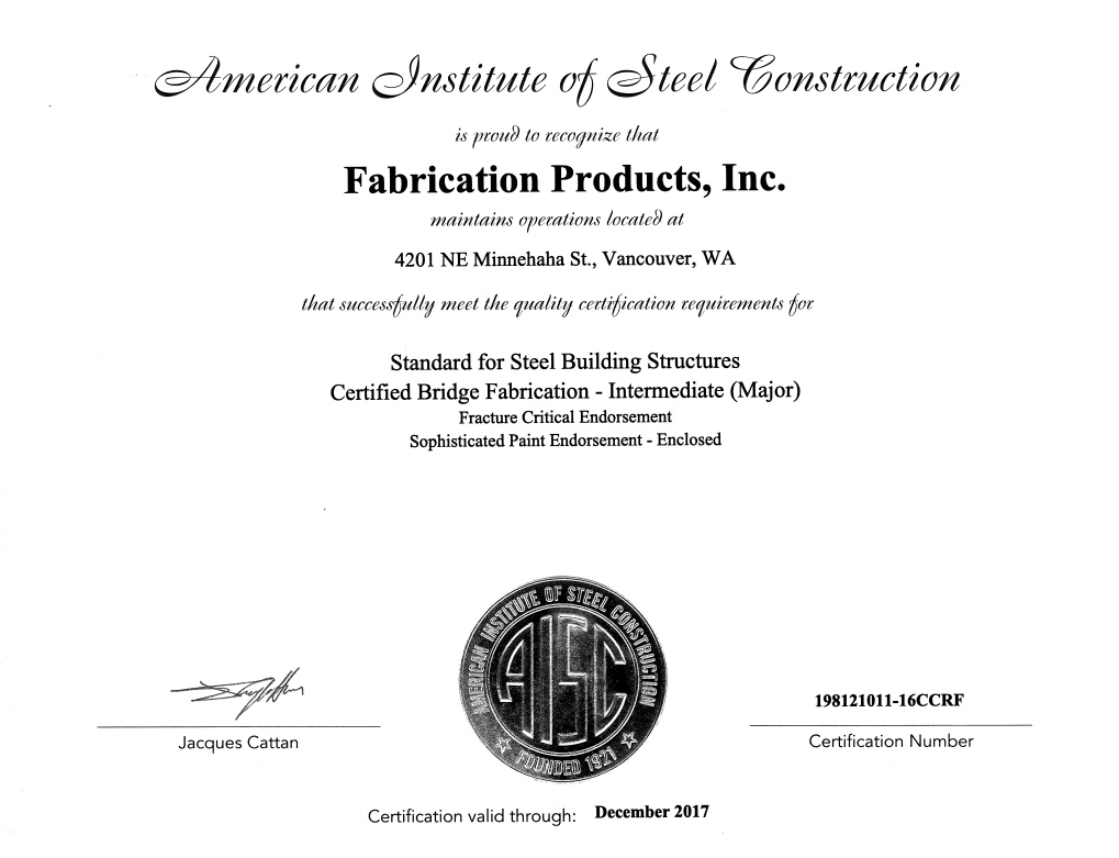 Aisc Certification Fabrication Products Inc